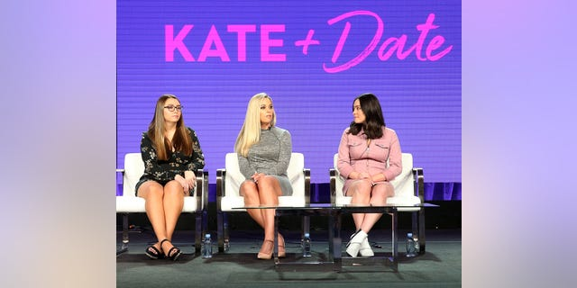 "(L-R) Cara Gosselin, Kate Gosselin, and Mady Gosselin of the television show ""Kate Plus Date"" speak during the HGTV segment of the 2019 Winter Television Critics Association Press Tour at The Langham Huntington, Pasadena on February 12, 2019 in Pasadena, Calif."