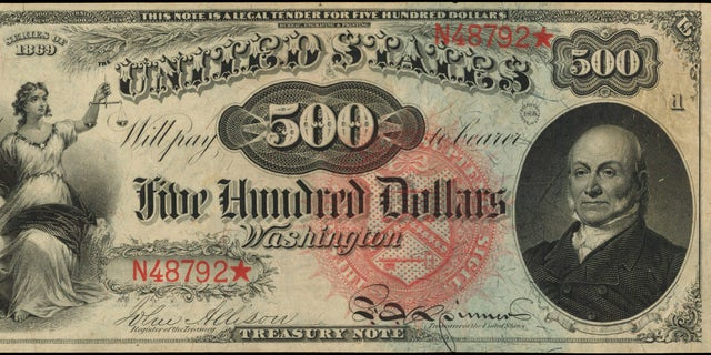 "This 1869 ""Rainbow"" $500 note is set for auction this month."