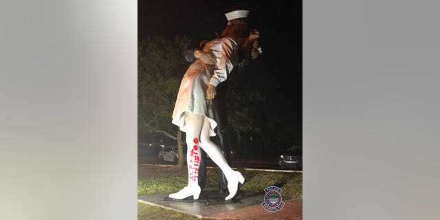 "Someone wrote""#MeToo"" in red paint on a Florida statue depicting the iconic photo of a World War II sailor kissing a nurse after the war ended."