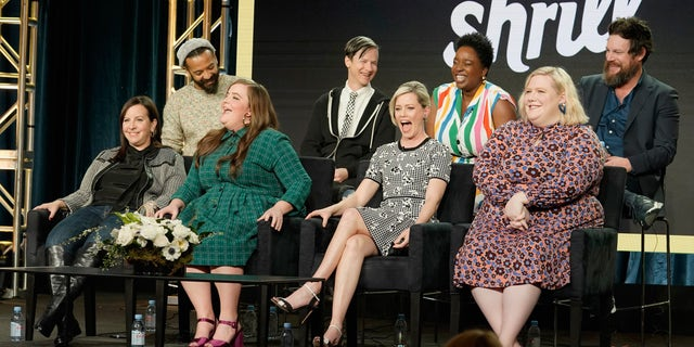 (L-R) Ian Owens, Ali Rushfield, John Cameron Mitchell, Aidy Bryant, Lolly Adefope, Elizabeth Banks, Lindy West and Luka Jones speak onstage during the Hulu Panel during the Winter TCA 2019 on February 11, 2019, in Pasadena, Calif.