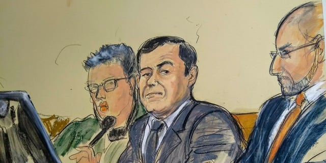 """In this courtroom sketch, Joaquin """"El Chapo"""" Guzman, center, listens as a prosecutor delivers closing arguments during his trial, Wednesday, Jan. 30, 2019, in New York. Guzman was portrayed Wednesday in closing arguments at his U.S. trial as a ruthless Mexican drug lord who also became skilled at evading capture and escaping prison because he feared facing justice on American soil. (Elizabeth Williams via AP)"""
