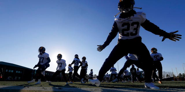 Los Angeles Rams workout during NFL football practice, Thursday, Jan. 31, 2019, in Flowery Branch, Ga., as they prepare for Super Bowl 53 against the New England Patriots. (AP Photo/John Bazemore)