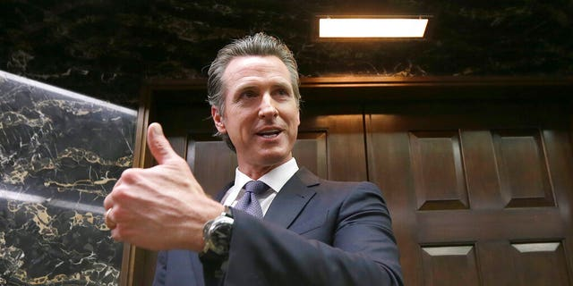 FILE - California Gov. Gavin Newsom in Sacramento, Calif. Newsom has already moved swiftly to enact anti-gun measures since taking office in January.