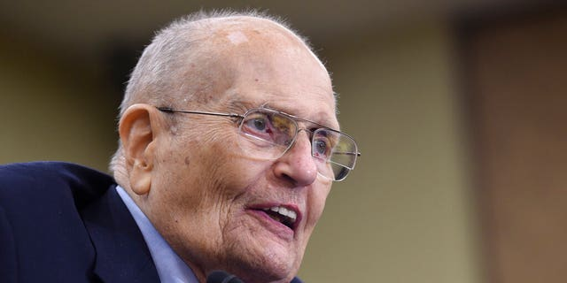 In this July 29, 2015 photo, former Rep. John Dingell, D-Mich., speaks at an event marking the 50th Anniversary of Medicare and Medicaid on Capitol Hill in Washington. (AP Photo/Susan Walsh)