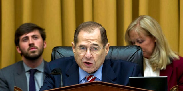 """Chairman of the court committee Chairman of the Committee, Gerald Nadler D-NY, speaks during a debate at the House Judicial Committee to report """" Attorney General Matthew Vitter on the Capitol Hill in Washington, DC, on February 7, 2019. (AP Photo / Jose Luis Magana)"""