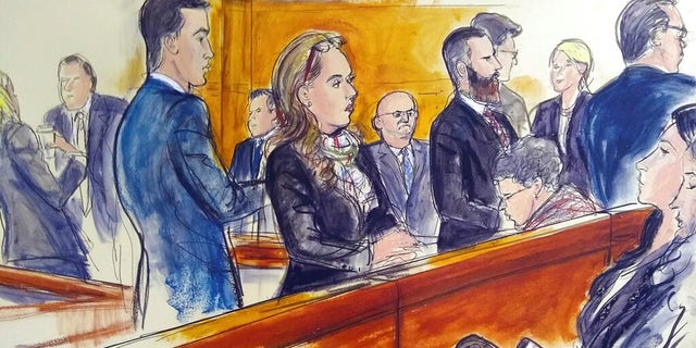 "In this courtroom drawing, those attending the trial of Mexican drug kingpin Joaquin ""El Chapo"" Guzman, pass the time while waiting for a verdict on Thursday, Feb. 7, 2019, during Guzman's drug trafficking trial in New York. Jurors ended their first week of deliberations on Thursday without reaching a verdict."