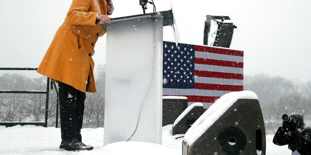 Democratic Sen. Amy Klobuchar at the snowy rally where she announced she was entering the race for president Sunday. (AP Photo/Jim Mone)