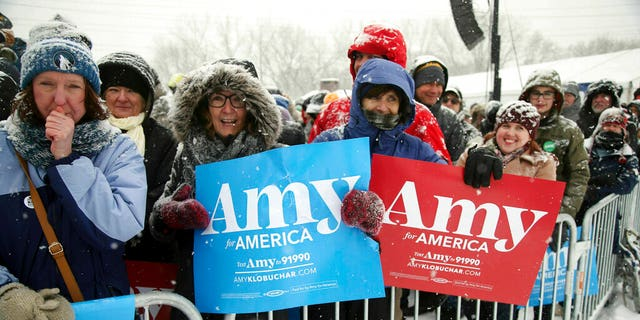 Supporters at the Klobuchar rally Sunday. (AP Photo/Jim Mone)