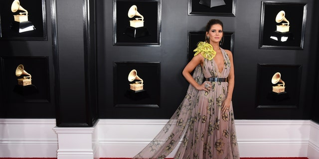 Maren Morris arrives at the 61st annual Grammy Awards at the Staples Center on Sunday, Feb. 10, 2019, in Los Angeles.