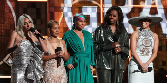 Lady Gaga, on the left, Jada Pinkett Smith, Alicia Case, Michelle Obama and Jennifer Lopez speak at the 61st Annual Grammy Awards on Sunday, February 10, 2019 in Los Angeles.