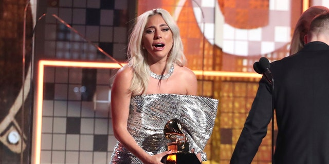 Lady Gaga before receiving the award for the best pop duet or group performance Shallow in the 61st Grammy Awards Sunday, 2019 February 10, Los Angeles