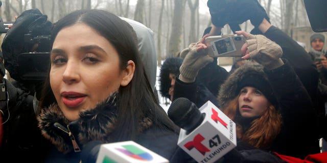 "Emma Coronel Aispuro, wife of Joaquin ""El Chapo"" Guzman, leaves federal court in New York, Tuesday, Feb. 12, 2019."