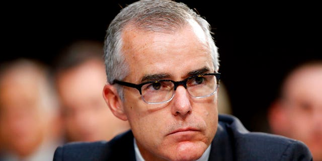 FILE - In this June 7, 2017, file photo, then-FBI acting director Andrew McCabe listens during a Senate Intelligence Committee hearing about the Foreign Intelligence Surveillance Act, on Capitol Hill in Washington. (AP Photo/Alex Brandon, File)