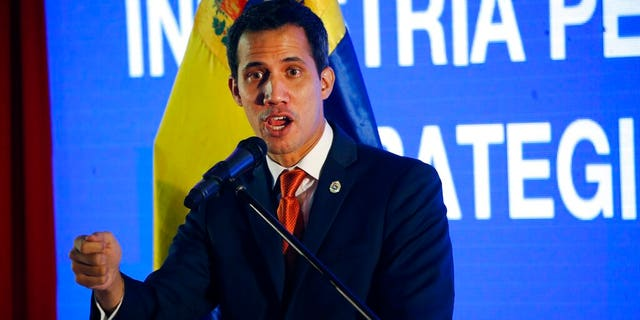 Juan Guaido speaking during an economic forum in Caracas last week. (AP Photo/Ariana Cubillos)