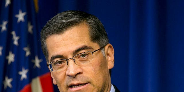 California Attorney General Xavier Becerra talks during a news conference in Sacramento, Calif., Jan. 24, 2018. (Associated Press)
