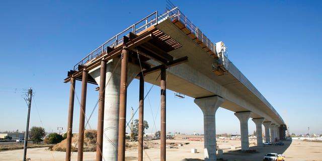 This December 2017 file photo shows one of the elevated sections of the high-speed rail under construction in Fresno, Calif. (AP Photo/Rich Pedroncelli, File)