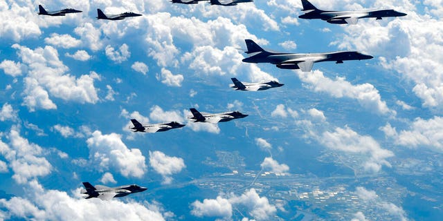 U.S. and South Korean fighter jets flying over the Korean Peninsula during joint drills. (South Korea Defense Ministry via AP, File)