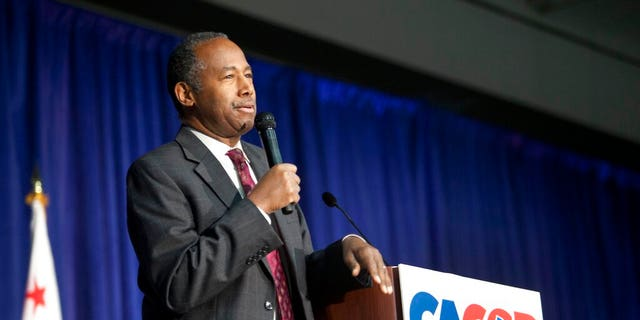 U,S. Secretary of Housing and Urban Development Ben Carson speaks to delegates during the California Republican Party convention in Sacramento, Calif., Saturday, Feb. 23, 2019. (AP Photo/Steve Yeater)