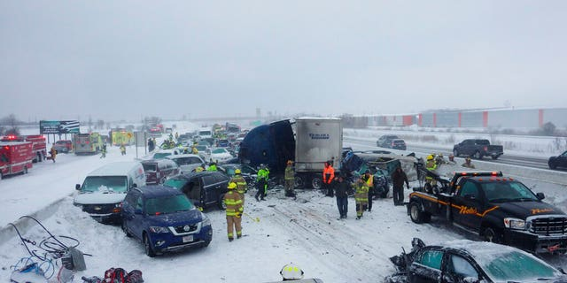 """Winnebago County Sheriff John Matz said the 131-car pileup in Wisconsin on Sunday is believed to be""""the largest traffic crash in the state's history."""""""