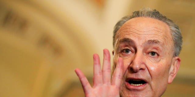 "Senate Minority Leader Chuck Schumer of N.Y., seen here on Tuesday, said Trump was trying to ""bend the law"" with his declaration of a national emergency on the southern border. (AP Photo/Manuel Balce Ceneta)"