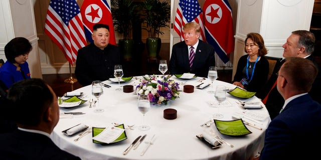 President Donald Trump speaks during a dinner with North Korean leader Kim Jong Un at the Metropole hotel.