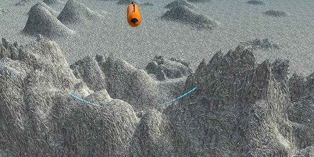 An Autonomous Underwater Vehicle (UAV) surveying the ocean floor.