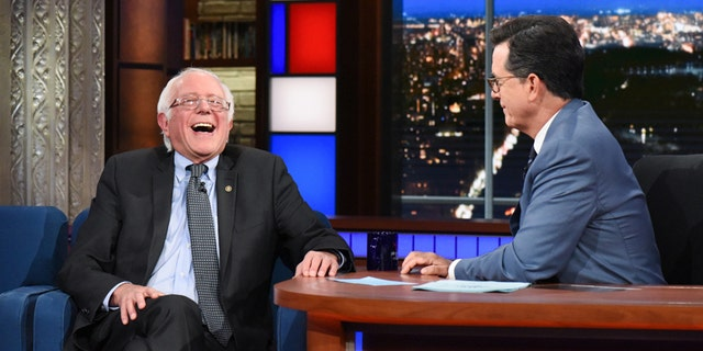 The Late Show with Stephen Colbert and guest Sen. Bernie Sanders during his