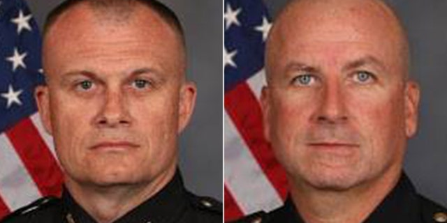 Detective Bill Brewer, left, was killed during an incident Sunday night while responding to a call in Pierce Township, Ohio. Lt. Nick DeRose, right, was wounded during the incident.