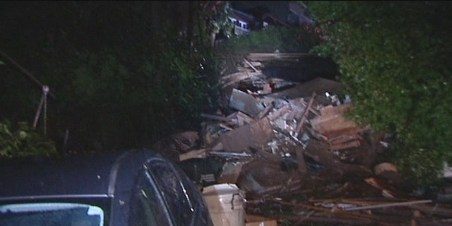 An unstable hillside, soaked with rain, caused a home in Sausalito, Calif. to slide about 75 yards into another home across the street.