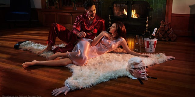 It's faux bearskin (and faux Colonel), according to KFC.