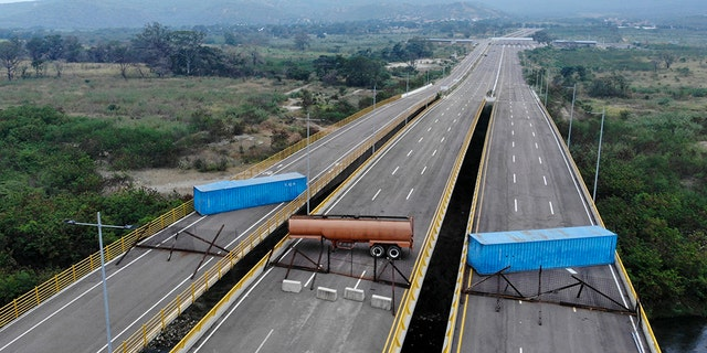 Aerial view of the Tienditas Bridge, in the border between Cucuta, Colombia and Tachira, Venezuela, after Venezuelan military forces blocked it with containers on February 6.
