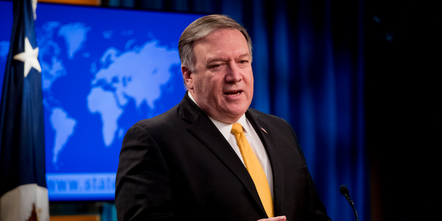 In this Feb. 1, 2019 photo, Secretary of State Mike Pompeo speaks at a news conference at the State Department in Washington. (AP Photo/Andrew Harnik)
