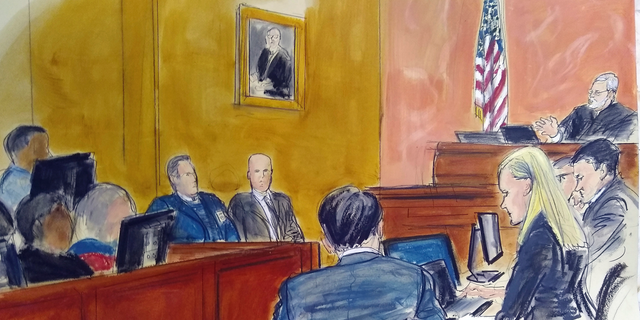 """FILE - In this Monday Feb. 4, 2019 courtroom sketch, Judge Brian Cogan upper right, gives instructions to jurors in the trial of Joaquin """"El Chapo"""" Guzman in New York. On Wednesday, Feb. 20, 2019, El Chapo's lawyers raised concerns of potential juror misconduct and said they were reviewing """"all available options"""" after a juror at the notorious Mexican drug lord's trial told a news website that several jurors looked at media coverage of the case against a judge's orders. (Elizabeth Williams via AP)"""
