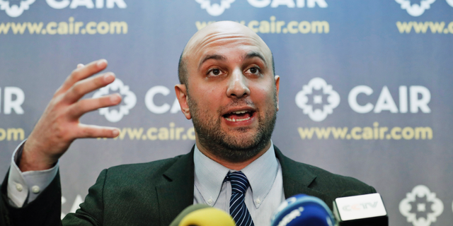 FILE - In this Jan. 30, 2017, file photo, attorney Gadeir Abbas speaks during a news conference at the Council on American-Islamic Relations (CAIR) in Washington. The federal government has acknowledged that it shares its terrorist watchlist with more than 1,400 private entities, including hospitals and universities, prompting concerns from civil libertarians that those mistakenly placed on the list could face a wide variety of hassles in their daily lives. (AP Photo/Alex Brandon, File)