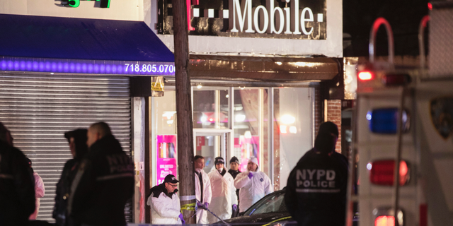 Investigators look over the area after a few New York City police officers were shot while responding to a robbery at a T-Mobile store in the Queens borough of New York on Tuesday, Feb. 12, 2019. An official said one of them was killed. (AP Photo/Kevin Hagen)