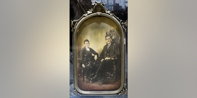 FILE - This June 9, 2015 file photo shows a portrait of Sheriff Pat Garrett with his wife at the Bryan Museum in Galveston, Texas. This June 9, 2015 file photo shows a portrait of Sheriff Pat Garrett with his wife at the Bryan Museum in Galveston, Texas. Officials in Las Cruces, N.M. are balking at the idea of renaming a street after the 19th century Old West sheriff who shot and killed the outlaw Billy the Kid. (Marie D. De Jesus/Houston Chronicle via AP, File) (Marie D. De Jesus/Houston Chronicle via AP, File)