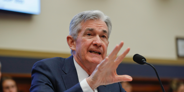 Federal Reserve Board Chair Jerome Powell gestures while speaking before the House Committee on Financial Services hearing on Capitol Hill in Washington, Wednesday, Feb. 27, 2019. (AP Photo/Pablo Martinez Monsivais)