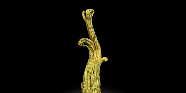 """This undated image provided by the Mineralogical and Geological Museum of Harvard University shows a rare gold specimen called the """"Ram's Horn."""" A team of scientists used neutrons from a particle accelerator at Los Alamos National Laboratory in New Mexico to learn more about the specimen's structure and formation process. (Mineralogical and Geological Museum of Harvard University via AP)"""