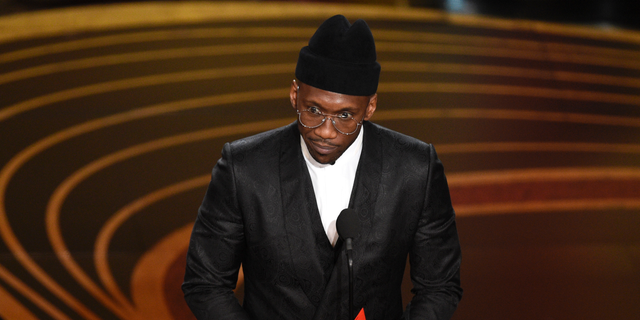 "Mahershala Ali accepts the award for best performance by an actor in a supporting role for ""Green Book"" at the Oscars on Sunday, Feb. 24, 2019, at the Dolby Theatre in Los Angeles."