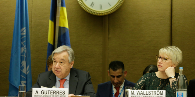 U.N. Secretary-General Antonio Guterres, left, and Swedish Minister for Foreign Affairs Margot Wallstroem, right, attend the High-Level Pledging Event for the Humanitarian Crisis in Yemen, at the European headquarters of the United Nations in Geneva, Switzerland, on Tuesday, Feb. 26, 2019. (Salvatore Di Nolfi/Keystone via AP)