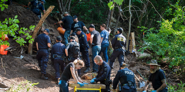 In this July 5, 2018, file photo, members of the Toronto Police Service excavate the back of a property in Toronto during an investigation in relation to Bruce McArthur.