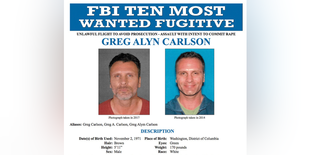 FILE - This undated file photos released on Thursday, Sept. 27, 2018 by the FBI shows an FBI wanted poster of Greg Alyn Carlson. The FBI tracked Carlson, a man they think was one of the country's 10 most-wanted fugitives, to a North Carolina motel, where agents shot and killed him on Wednesday, Feb. 13, 2019. (FBI via AP, File)