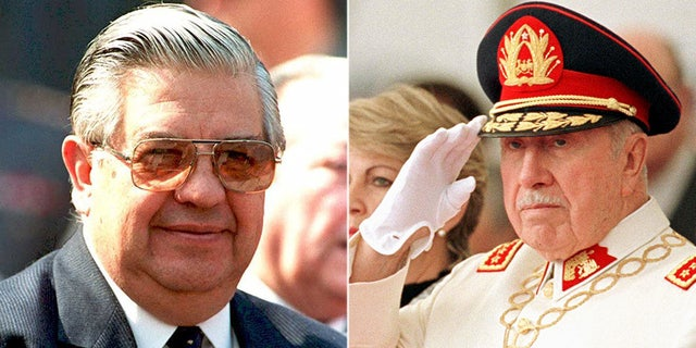 Adriana Rivas, 66, worked as a close aide between 1973 and 1976 to Manuel Contreras (left), who ran the National Intelligence Directorate under the Pinochet regime.The secret police run by Contreras was the main agency Pinochet (right) used to suppress his political opponents following his usurpation of power.