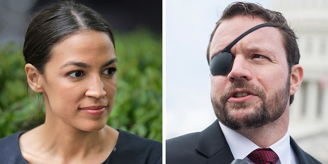 Rep. Dan Crenshaw, R-Texas, right, who lost an eye as a Navy SEAL in Afghanistan, tweeted a shot at both the New England Patriots monopoly and the progressive ideas of Rep. Alexandria Ocasio-Cortez, D-N.Y. (AP / Getty)