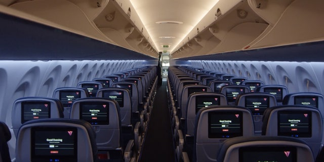 "Delta also boasts of the aircraft's ""state-of-the-art interior featuring seat-back screens."""