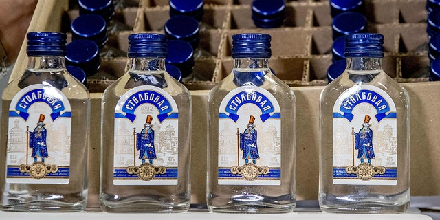 Picture shows vodka bottles that were seized by the customs authorities in the port of Rotterdam, on February 26, 2019.