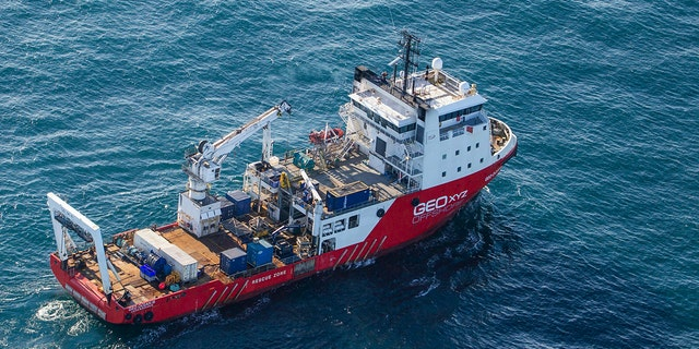 This undated photo issued by Jon Le Ray@jonnersleray on Tuesday Feb. 5, 2019, shows the Geo Ocean III specialist search vessel off the coast of Alderney in the English Channel.