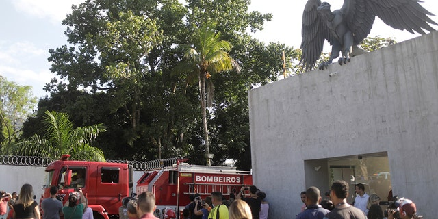 A fire truck is seen in front of the training center of Rio's soccer club Flamengo, after a deadly fire in Rio de Janeiro, Brazil
