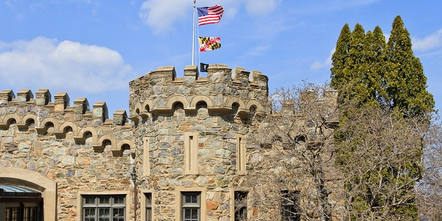 A stone castle-shaped building at the Fort Ritchie site in northern Maryland. The fort was shut down in 1998 as a result of base realignment.