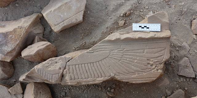Fragment of a winged solar disk discovered in the ancient quarry. (Gebel el Silsila Project)